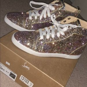 new arrival c13f3 7d05d Women Louboutin Glitter Sneakers on Poshmark